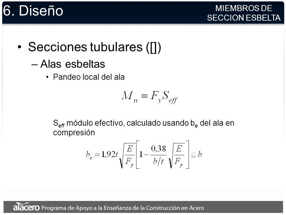 6. Diseño Secciones tubulares ([]) Alas esbeltas MIEMBROS DE